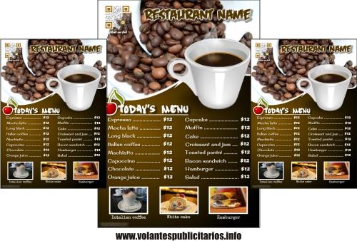 Flyer publicitario para cafetería